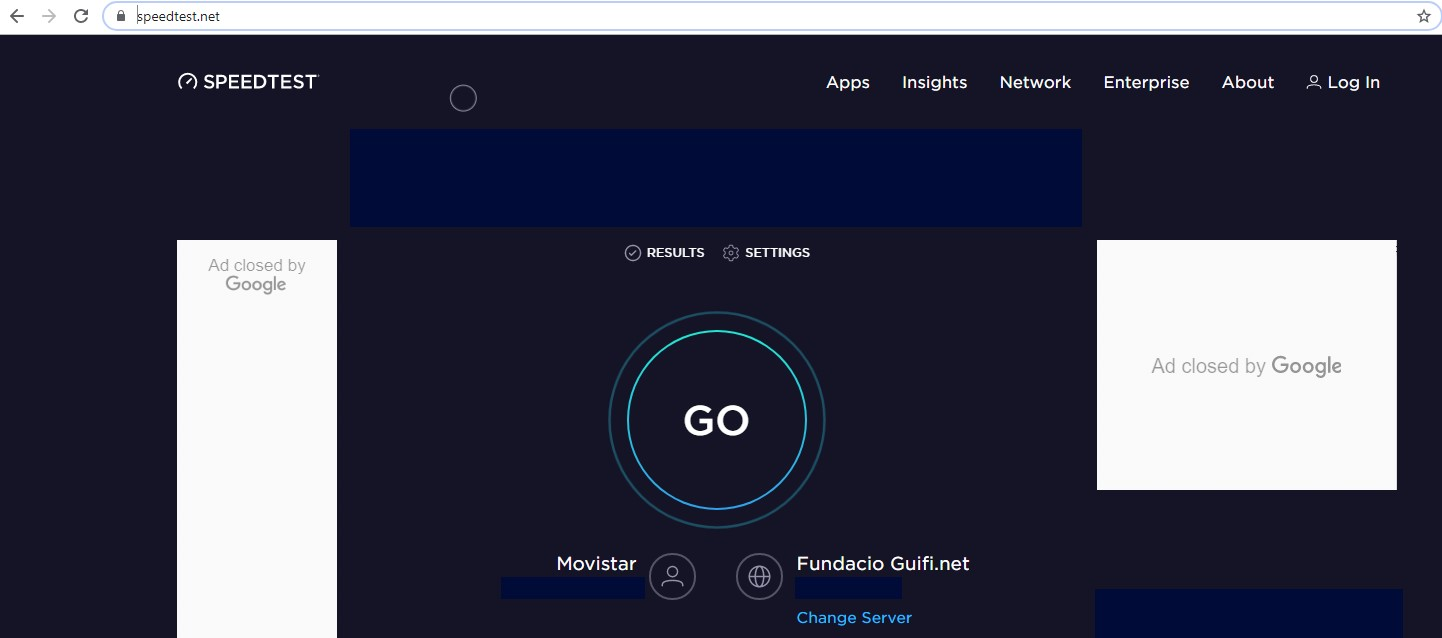 Speed test totally independent of CamOnCASH and its network