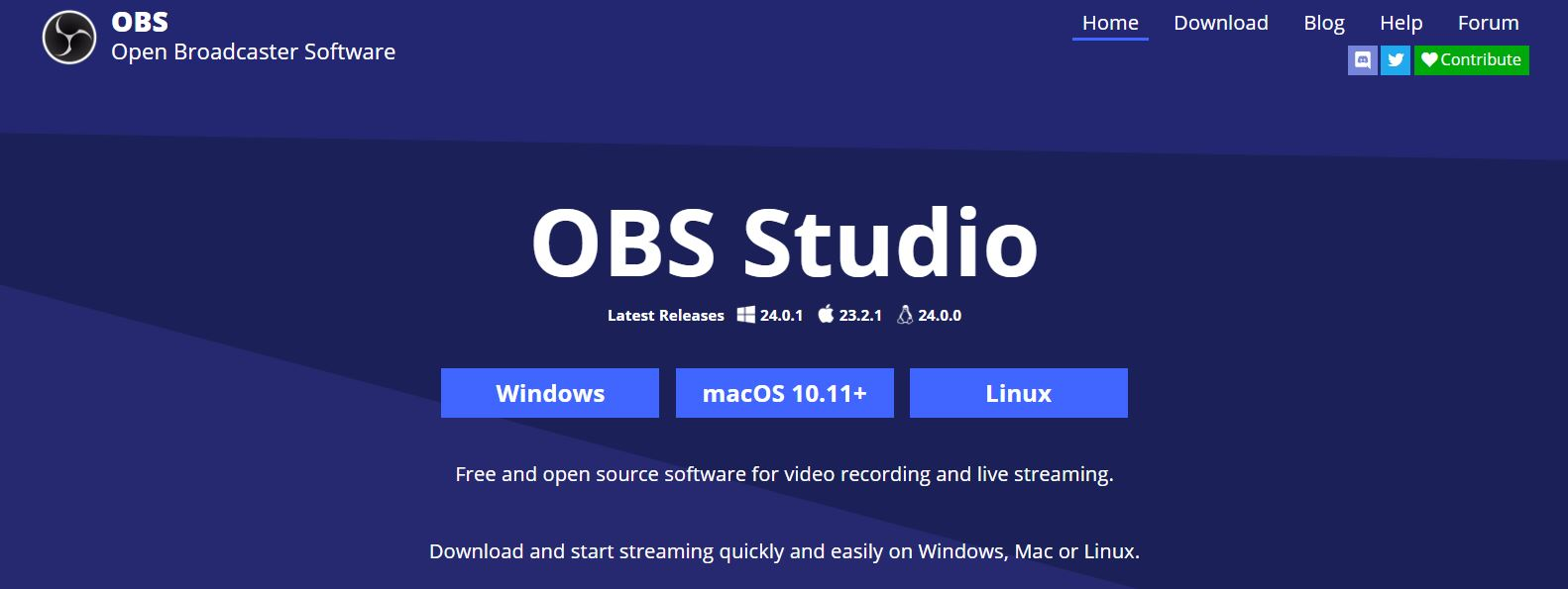 Download OBS software select device operating system