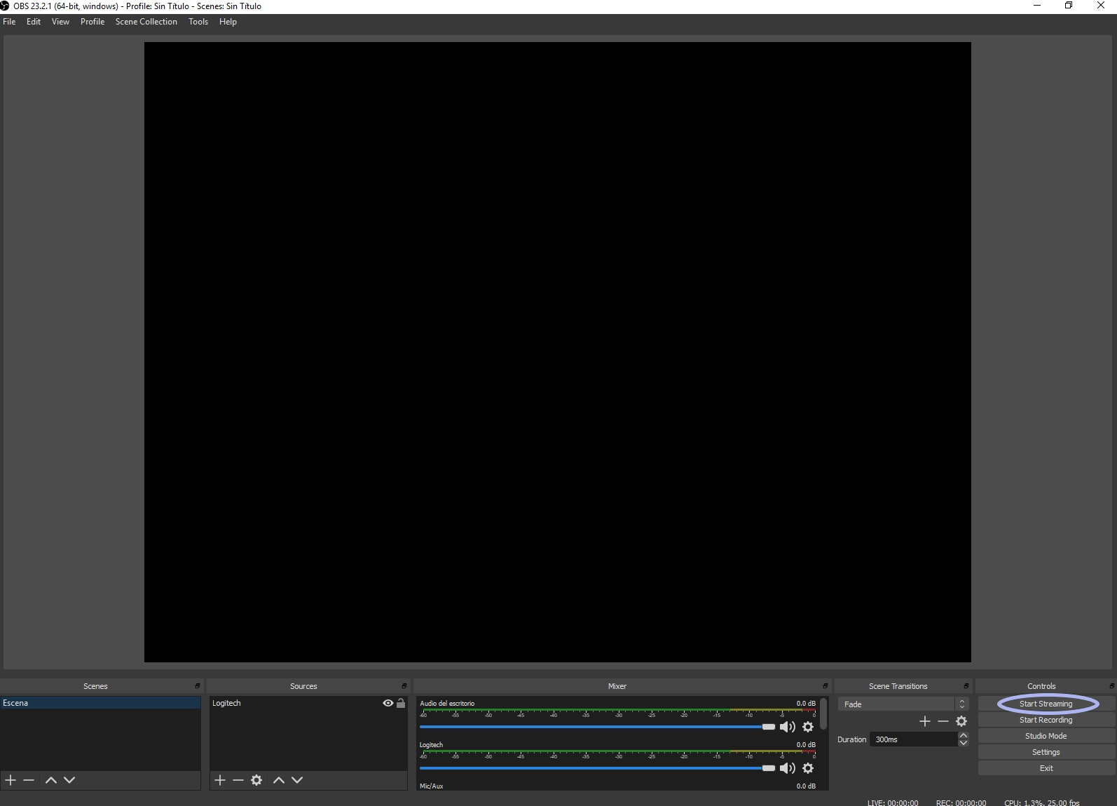 Start streaming from the OBS software to stream