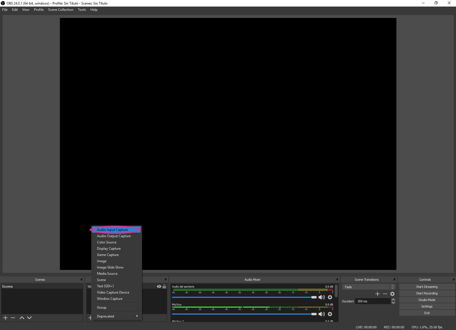 Click on audio input capture to add microphone