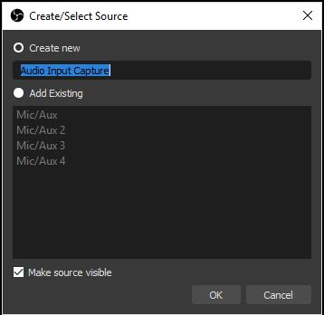 Click on create new microphone and name it